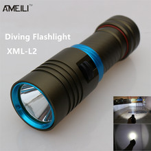 3800Lm Dive 80 Meter XM-L L2  Waterproof Underwater LED Flashlight Diving Camping Lanterna Torch Lamp  With Stepless dimming(China (Mainland))