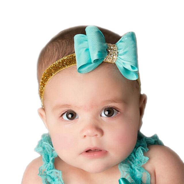 16 цвета Новорожденный Люкс Волосы Цветок Луки Соответствующие Блеск Оголовье Ручной ...