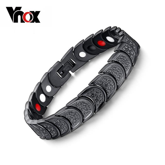 Черный браслет здоровый магнит для человека из нержавеющей стали Squamiform защита ...