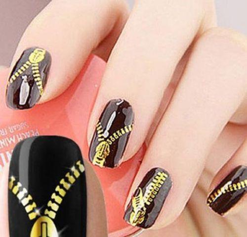 Gold Self Adhesive Nail Wrap Decals Zipper Zips Nail Art Stickers Decoration(China (Mainland))
