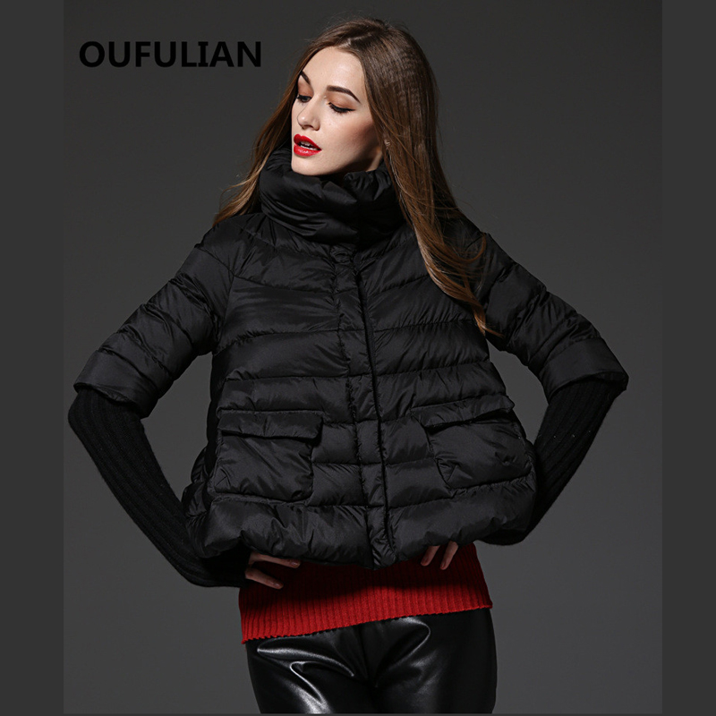 Фотография 2015 New Style Down Jacket Short Section Thick  Sleeve Fashion Print Down Jacket Parkas Overcoat Women Female Warm Clothes
