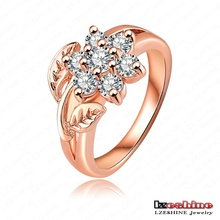 Hot Selling Fashion Noble 18K Rose Gold Plate and Pave Austrian Crystals Flower Engagement Rings Wedding Jewelry Ri-HGC0012