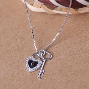 high quality meaningful jewelry 925 sterling silver lock and key necklace pave cz(China (Mainland))