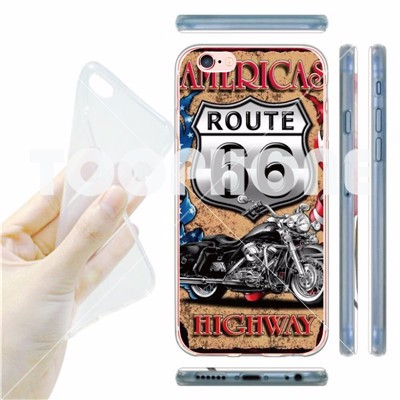 TPU Case for iPhoneSE 5S 6 6S 6Plus Retro Historic 66 Route Design Luxury Thin Silicone Clear Transparent