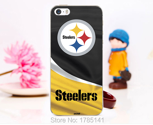 1pcs NFL Steelers logo rugby team hard white Skin Case for iphone 5 5s 4 4g 4S 5c Retail(China (Mainland))