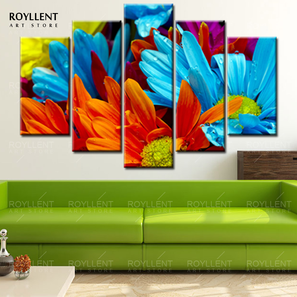 5Pcs Colorful Sunflowers Painting Printed On Canvas For Living Room Home Decor Modern Wall Art(unframed) RA0086