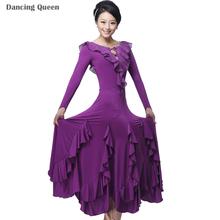 2015 New Standard Ballroom Dance Dress Women Long Sleeve Waltz/Tango/Jazz Dance Dress Black/Purple/Red/Rose Performance/Practice(China (Mainland))