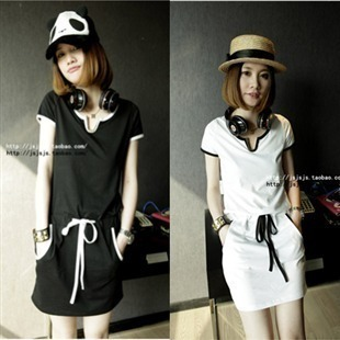 738 casual sports lacing black and white color block decoration metal V-neck one piece short skirt