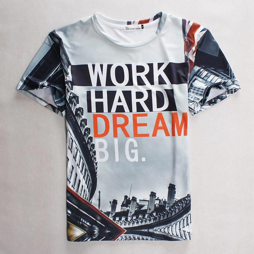 [Mikeal] Newest Hip Hop Men/women 3d t shirt Graphic print Work hard/traffic signs/skulls flower t-shirt Casual 34 models(China (Mainland))