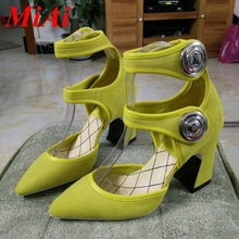 high-quality genuine leather women pumps 2016 new spring summer sexy high heels pointed toe gladiator shoes woman pumps yellow
