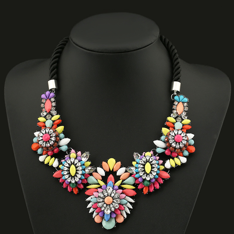 2016 Collier Femme Necklaces Pendant Black Statement Bijoux Crystal Jewelry Choker Vintage braided necklace fashion accessories(China (Mainland))