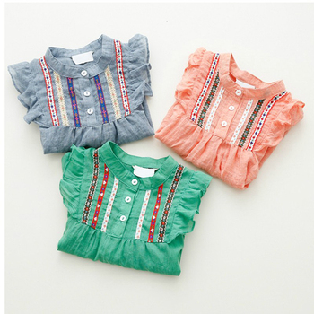 Autumn Cute Toddler Baby Girls Embroidered Long Sleeve Ruffle Tops Shirts Blouse Free Shipping