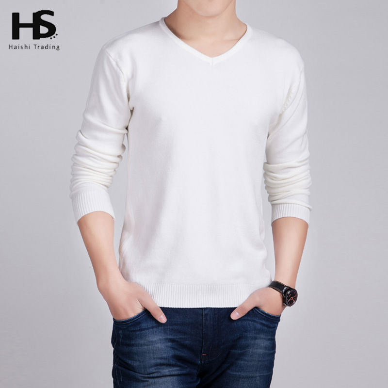 HS Solid Color Pullover Men Wool Cashmere Sweater Men 2016 Famous Brand Mens V Neck Sweaters