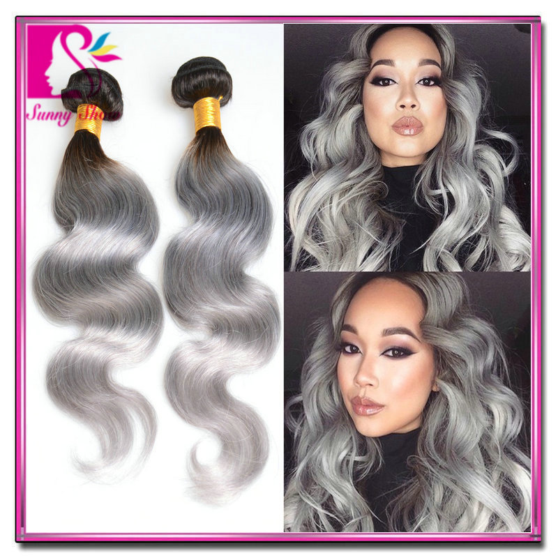 Peruvian body wave grey hair extensions 4pcs/lot grey ombre human hair weave free shipping silver ombre hair weft king hair sale<br><br>Aliexpress