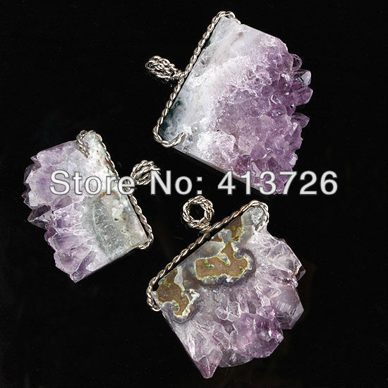 Free Shipping wholesale 10Pcs Silver Plated Natural Druzy Amethyst Quartz Clusters Stone Random Shape Stone Pendant Jewelry