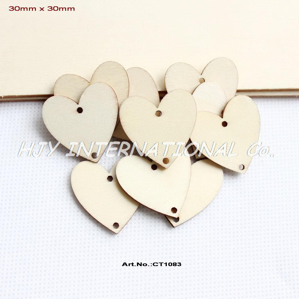 150pcs lot 2 holes unfinished natural wooden heart for Wholesale wood craft cutouts