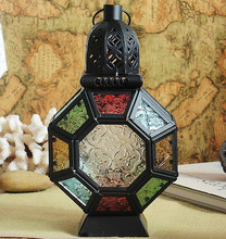 Iron colored glass lantern Morocco / lantern / candle holders / Garden Accessories / Terrace Decoration / Home Decorations(China (Mainland))