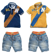 New Children Clothing Set Cotton T-Shirt+Jeans Kids Suits Fashion Sports Clothes Sets baby boys clothes Cowboy Suit Polo,CT-049(China (Mainland))