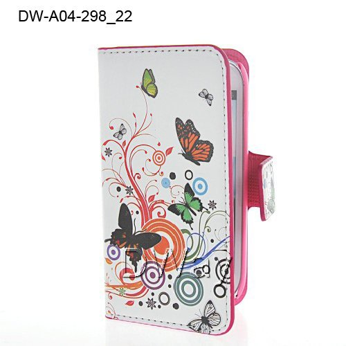 Flip Stand Book Butterfly Flower Cover Case Samsung Galaxy S3 Mini i8190 PU Leather 1 Piece +Free Film - DWay Technology Co.,Ltd store