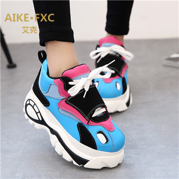 2015 spring new sports shoes sports shoes increased female Japanese retro original Susong cake thick crust lace shoes(China (Mainland))