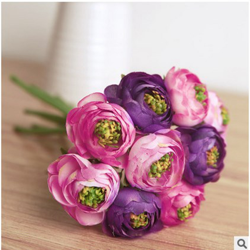 6pcs/ bouquet Real Touch Silk Flowers Simulation Ranunculus Flower Artificial Flowers Bouquet For Wedding Home Table Decoration(China (Mainland))