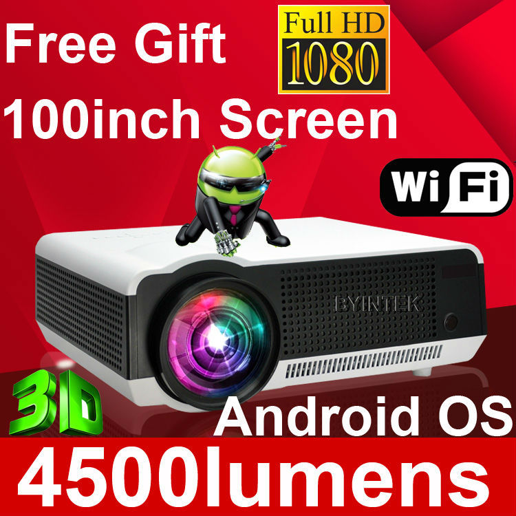 Проектор 100 Android WIFI 1080P HDMI 3D fUll HD proyector projetor BT86 проектор microjet s9 3d проектор дома 3d проектор дома android смартфон