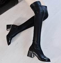 2017 Moda sonbahar ve kış ultra uzun tüp over-the-diz çizmeler gaotong botları soba borusu botları siyah elastik deri botlar(China)