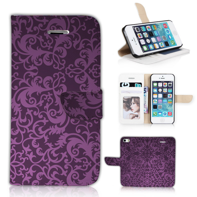 BTD Luxury Case for Apple iphone5 5S 5G Accessories Vintage Wallet Stand Flip Cover for iphone 5 Seamless Damask P030-5G(China (Mainland))