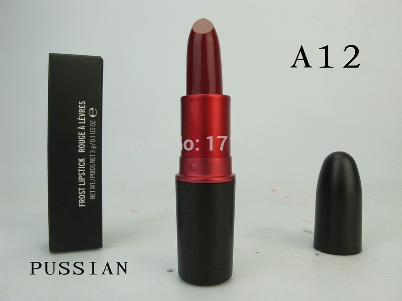 1pcs/lot 2015 New arrive Makeup Lipstick forst blue Lipstick 3g A12 PUSSIAN Color can choose with english name Free Shipping(China (Mainland))