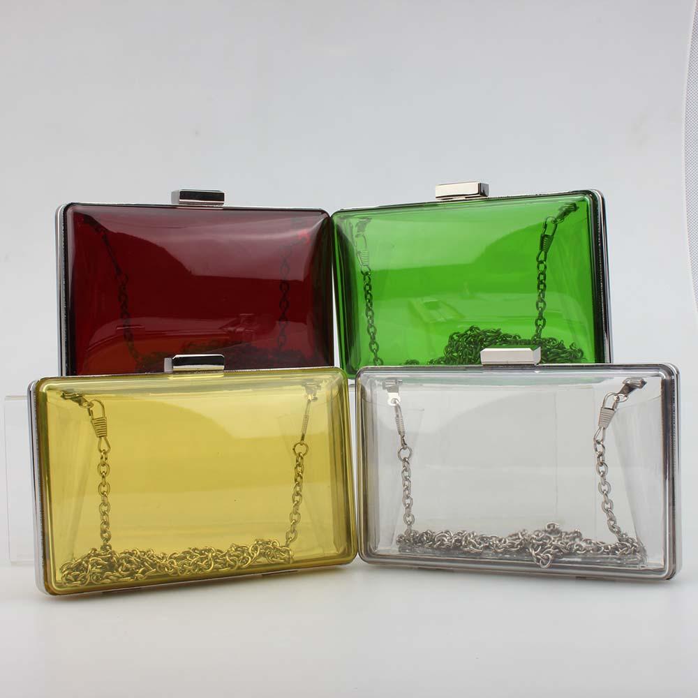New Arrived Clear Acrylic Evening Bag Perspex Clutch Box Handbag Bolsa Women Purse Luxury Candy Colors Shoulder Bag(China (Mainland))