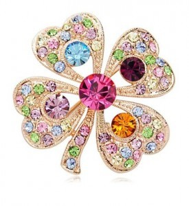 Free shipping Fashion rhinestone adorn article romantic clovers personality lady pectoral flower brooch for women(China (Mainland))