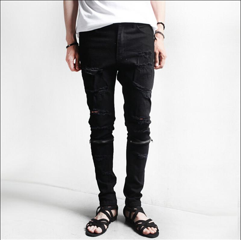 M-2XL Zipper decoration clothing designer pants black destroyed mens slim denim straight biker skinny jeans men ripped jeans Одежда и ак�е��уары<br><br><br>Aliexpress