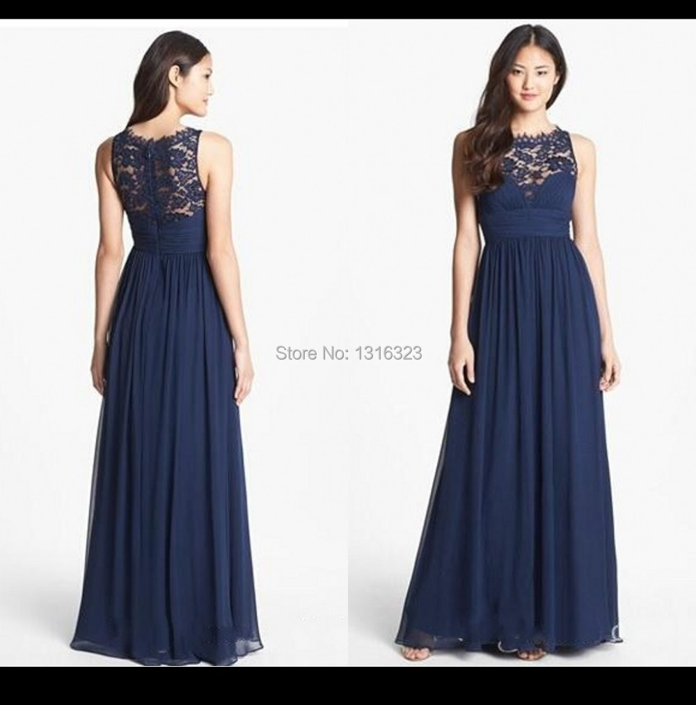 Bridesmaid dresses navy blue long wedding dresses asian for Long blue dress for wedding