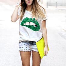 Fashion Women T shirt 2016 Sequined Mouth Print T-shirt Women Tops Casual Short Sleeve Cotton T-shirts S-XL(China (Mainland))