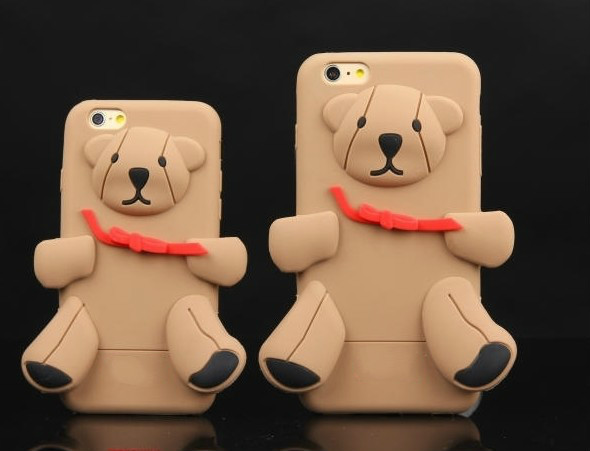 Fashion brand lovely cartoon series 3D teddy bear silicone cover case for iPhone 6 6plus for 5 5s Brown Winnie(China (Mainland))
