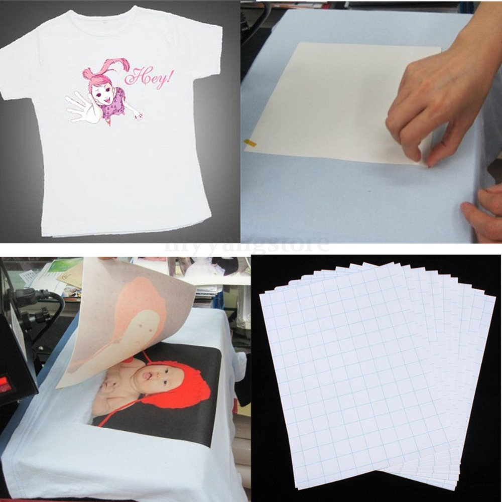 Nice 10pcs sheets t shirt a4 iron on inkjet heat transfer for Printer transfer paper for wood