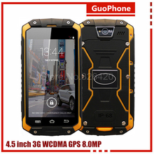 "Unlocked Original 4.5"" IPS GuoPhone V9 IP68 Rugged Waterproof Phone MTK6572 Android4.4 512MB 4GB WCDMA 3G Smart Phone v8 v11 A9(China (Mainland))"