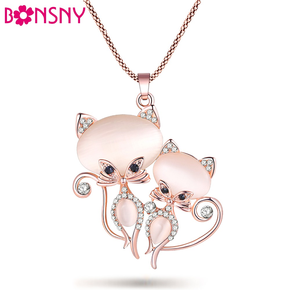 Bonsny Cat Necklace Long Pendant Brand Crystal Chain New 2015 Zinc Alloy Girl Women Fashion Jewelry Statement Accessories(China (Mainland))