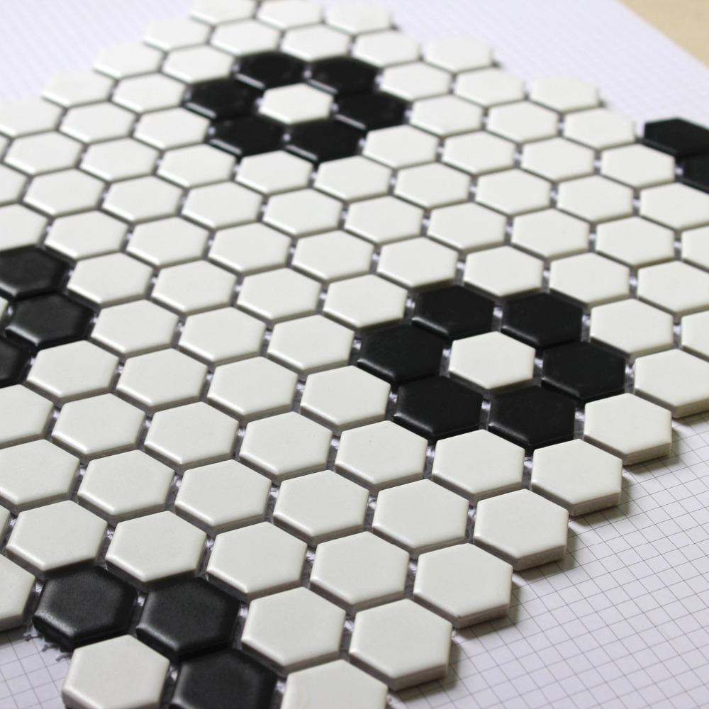 Hexagon mozaïeken tegel zwart wit parket mozaïek puzzled tegels ...