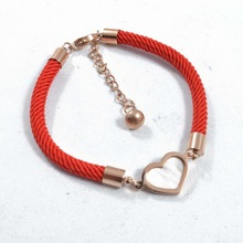 Fashion Red kabbalah String Bracelet Rose gold Stainless Steel Shell Love Heart Charm Red Rope Bracelet Pulseras Jewelry(China (Mainland))