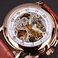 Orkina Brand Luxury Men Leather Business Skeleton Watch Black Golden Dial Relogio Masculino Mechanical Automatic Wrist
