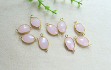 10pcs/lot Rose quartz Druzy Gold Plated Faceted Oval Shape Glass Crystal Connector Beads For DIY Bracelet necklace Jewelry BD47(China (Mainland))