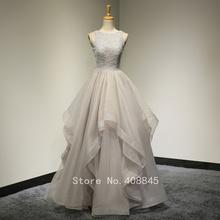 2016 Real Pictures Scoop Neck Beading Lace Ruffle Organza Gray Long Prom Dresses Evening Wedding Dress Vestido De Novia(China (Mainland))