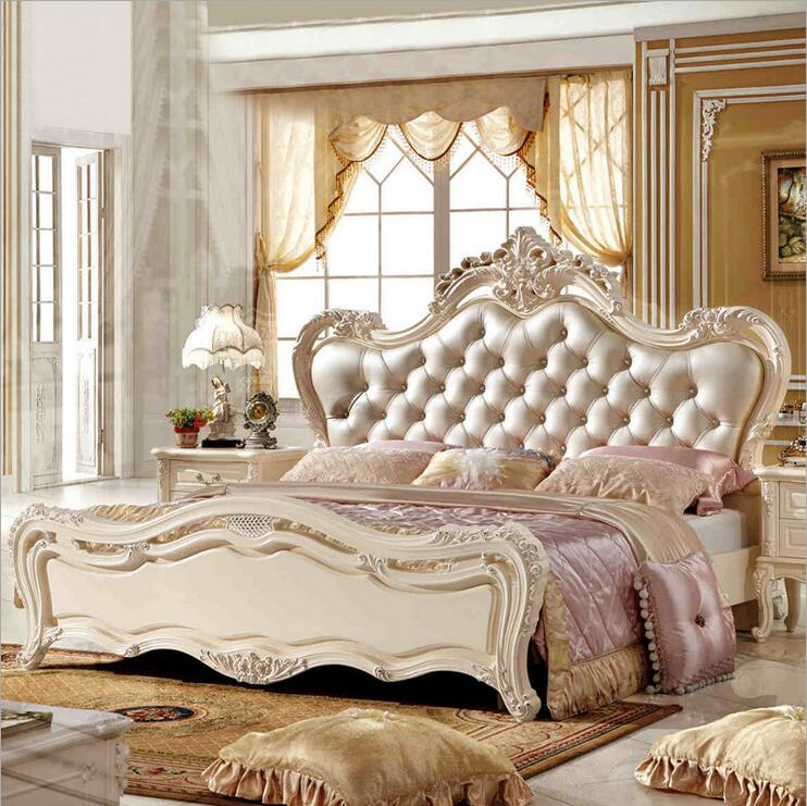 modern european solid wood bed Fashion Carved leather french bedroom furniture pfy10183(China (Mainland))