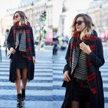 Za Christmas Scarf Winter Brand Neck Warmer Houndstooth Cashmere Tartan Plaid Double Side Blanket Scarf Shawl Scarves