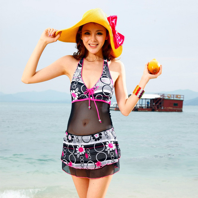 Female fashion swimwear skirted swimwear push up bikini 1113