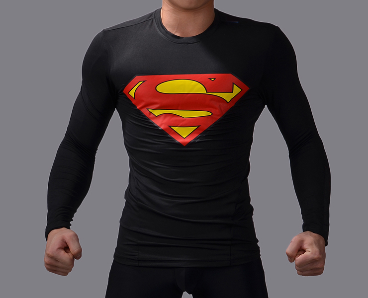 Men compression shirt running tights Fitness T-Shirt Men Sports superman Jerseys Tops(China (Mainland))