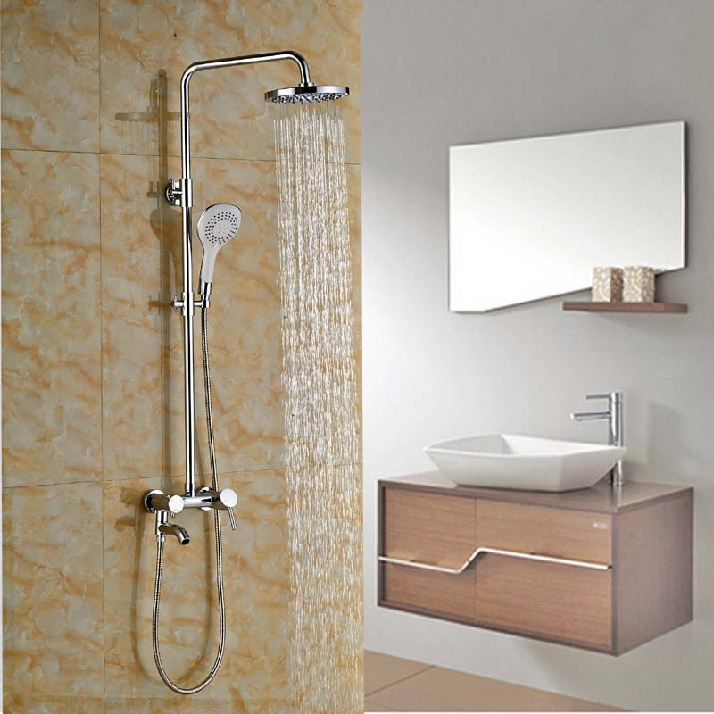 "Здесь можно купить  Chrome Brass Single Handle Swivel Tub Filler Bath Shower Mixer Faucet Wall Mount 8"" Rainfall Shower Head   Дом и Сад"