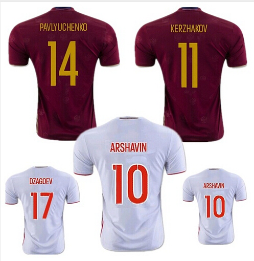 16 17 Russia jersey 2016 2017 soccer jerseys home away shirt white maroon red team 16/17 football shirts country best quality(China (Mainland))