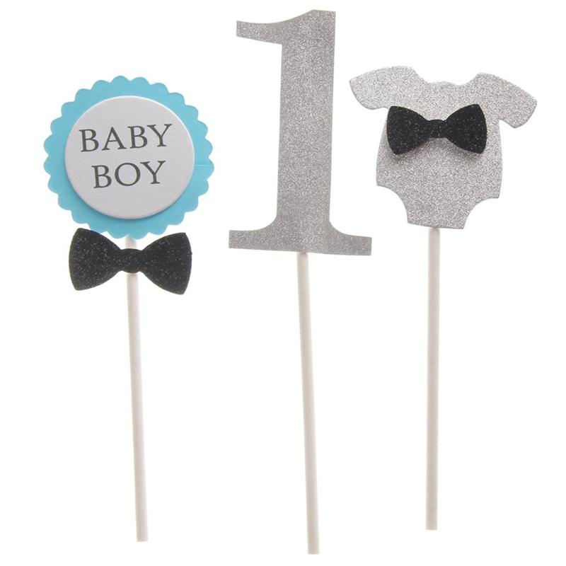 Lovely BABY BOY 1st Cake Topper Baby Boy The First Birthday Cake Decoration Cupcake Picks(China (Mainland))